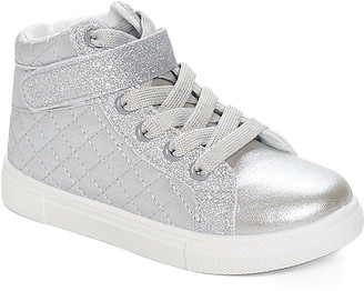 Ositos Shoes Girls' Sneakers SILVER - Silver Quilted Hi-Top Sneakers - Girls