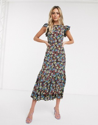 NEVER FULLY DRESSED frill shoulder ruffle hem midaxi dress in multi floral print