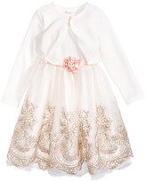 Bonnie Jean 2-Pc. Embroidered Dress and Cardigan Set, Little Girls (4-6X)