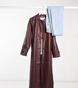 Fashion Union Tall coat with collar and belt in pu