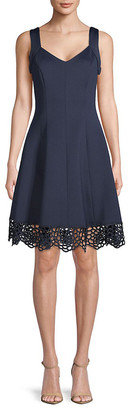 Donna Ricco Lace-Trimmed Sleeveless Dress