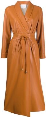 Nanushka Faux Leather Wrap Dress