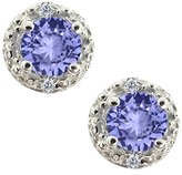 Gem Stone King 0.62 Ct Round Blue Tanzanite and White Diamond 18k White Gold Earrings