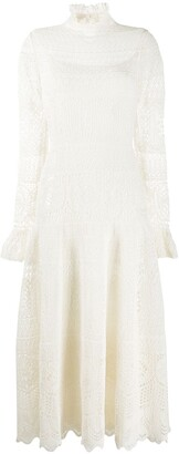 Alexander McQueen Frilled Neck Crochet Dress