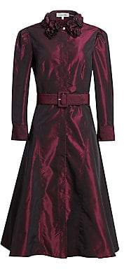 Teri Jon by Rickie Freeman Women's Embellished Collar Taffeta A-Line Shirt Dress