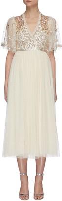 Needle & Thread Sequin embellished panelled cape sleeve tulle midi dress