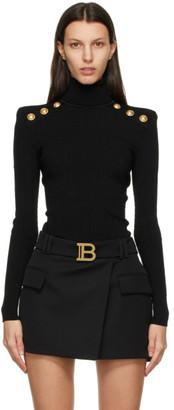 Balmain Black Knit Button Turtleneck