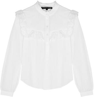 Veronica Beard Sonnet White Ruffle-trimmed Cotton Shirt