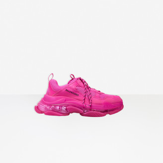 Balenciaga Triple S Clear Sole Sneaker in pink polyester and polyurethane