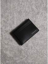 Burberry Leather Money Clip Card Case, Black