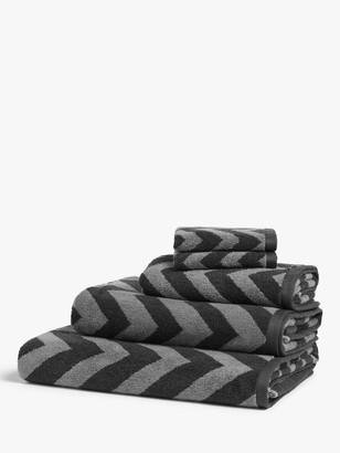 John Lewis & Partners Zig Zag Towels with TENCEL Lyocell, Steel