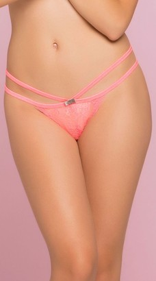Seven Til Midnight SEVEN 'TIL MIDNIGHT Women's Strappy Lace Panty with Satin Bow