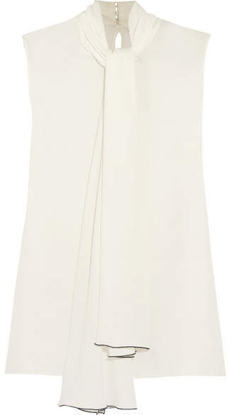 Alexander McQueen Pussy-bow Silk-georgette Top - Ivory