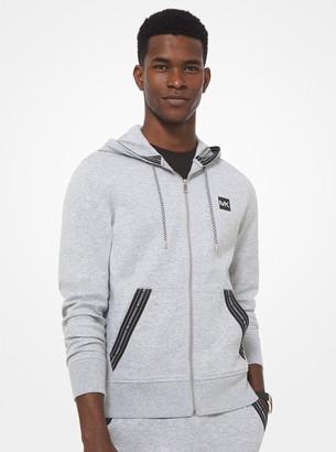 Michael Kors Logo Tape Cotton Blend Zip-Up Hoodie