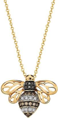 Effy 14K Yellow Gold Diamond Bee Pendant Necklace
