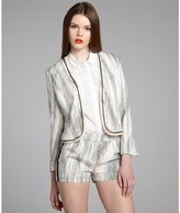 Greylin ivory 'Patricia' textured notch cuff jacket