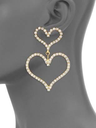 Elizabeth Cole Color of My Love Emilia 24K Yellow Goldplated & Austrian Crystal Double Heart Drop Earrings