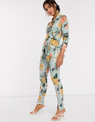 ASOS DESIGN jersey slim suit trousers in green floral
