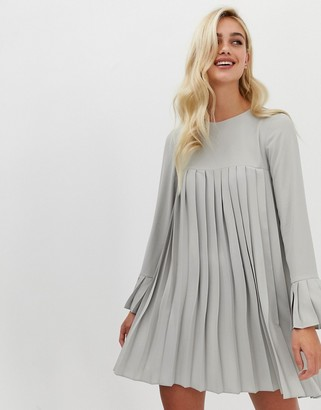 ASOS DESIGN pleated trapeze mini dress with long sleeves in gray