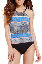 Jantzen Batik Stripe High Neck One-Piece