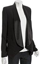 black satin shawl lapel 'Courtney' draped blazer