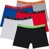 Smith And Jones Mens Plus Size Mixup Five Pack Boxers Black/Green Flash/Classic Blue/True Red