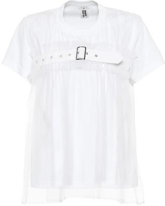 Noir Kei Ninomiya Cotton and tulle T-shirt