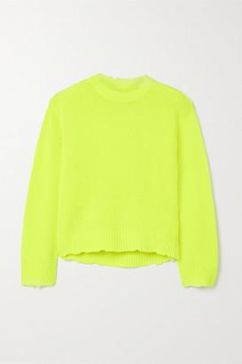 RtA Emma Distressed Neon Cashmere Sweater - Chartreuse