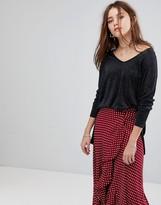 Glamorous Dip Hem Sweater In Glitter Knit