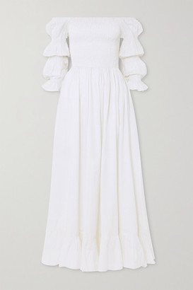 Evarae Lora Off-the-shoulder Fil Coupe Cotton And Silk-blend Maxi Dress - White
