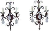 One Kings Lane Vintage Rock Crystal & Wrought Iron Sconces, S/2