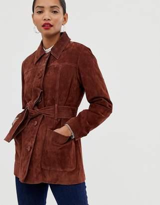 Asos suede belted jacket-Brown
