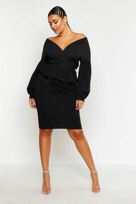boohoo Plus Off The Shoulder Wrap Peplum Dress