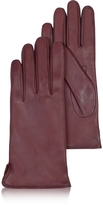 Forzieri Women's Burgundy Cashmere Lined Italian Leather Gloves