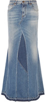 Roberto Cavalli Paneled Stretch-denim Maxi Skirt - Mid denim