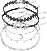 Mudd Triple Star & Crescent Pendant Choker Necklace Set
