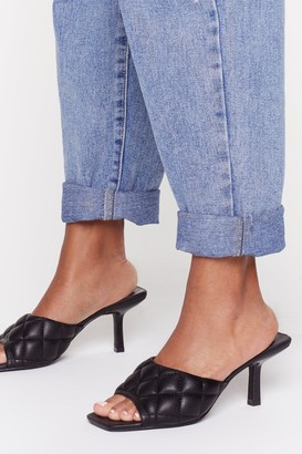 Nasty Gal Womens Shake Quilt Up Faux Leather Kitten Heel Mules - Black - 5, Black