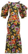 Carolina Herrera Puff-sleeve Floral-print Cotton-blend Faille Dress - Womens - Black Multi