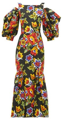 Carolina Herrera Puff-sleeve Floral-print Cotton-blend Faille Dress - Black Multi