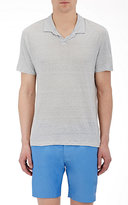 Onia MEN'S STRIPED SHAUN POLO SHIRT-LIGHT GREY SIZE M