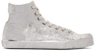 Maison Margiela Grey and Silver Tabi High-Top Sneakers