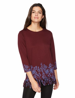 Ruby Rd. Women's 3/4 Sleeve Printed Dyed French Terry top Wine Blue M