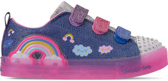 Skechers Girls' Little Kids' Twinkle Toes: Shuffle Brights - Rainbow Glow Light Up Hook-and-Loop Casual Shoes