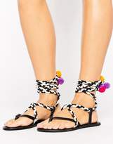 Asos Familiar Rope Pom Pom Leather Sandals
