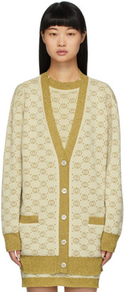 Gucci Gold and Beige Lurex Interlocking G Cardigan