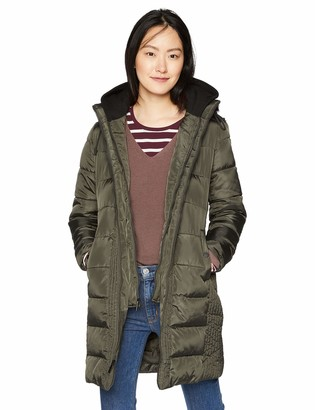 French Connection Women's 3/4 Hooded Puffer with Removable Sweatshirt bib