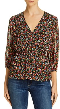 Notes du Nord Neeve Floral Print Wrap Top