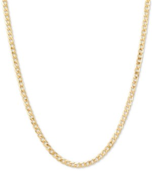 "Italian Gold Fine Curb Link 18"" Chain Necklace in 14k Gold"