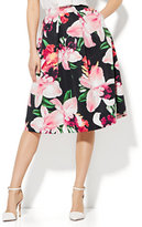 New York & Co. Full Pleated Skirt - Orchid Print
