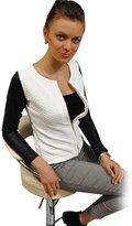 Changeshopping Women Faux Leather Zip Long Sleeve Blouse Outwear Parka Coat